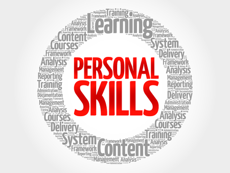 personal trainer: Personal Skills circle word cloud, business concept