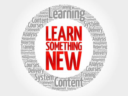 self discovery: Learn Something New circle word cloud, business concept
