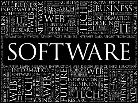 product design specification: Software word cloud, business concept Illustration