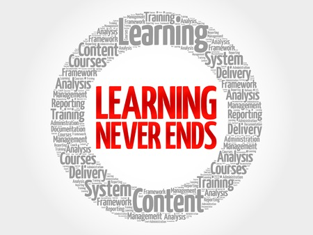 ends: Learning Never Ends circle word cloud, business concept