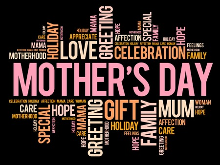 motherhood: Mothers Day word cloud, care, love, family, motherhood concept Illustration