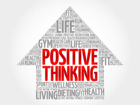 Positive thinking arrow word cloud, health concept Çizim