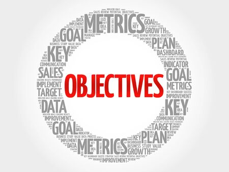 relationsip: Objectives circle word cloud, business concept background Illustration