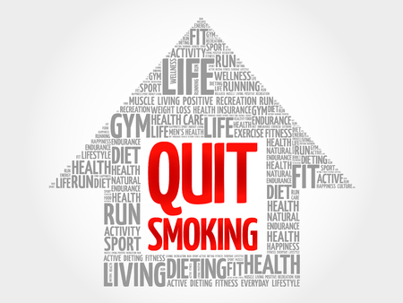 quit: Quit Smoking arrow word cloud, health concept Illustration