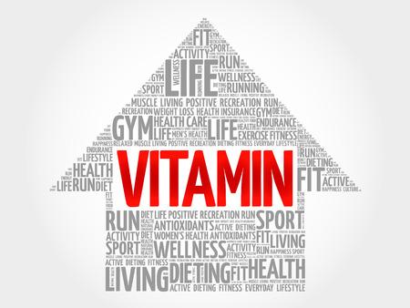 oxidative: VITAMIN arrow word cloud, health concept