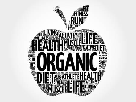 increase fruit: ORGANIC apple word cloud, health concept Illustration