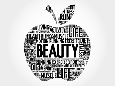 beuty: BEAUTY apple word cloud, health concept Illustration