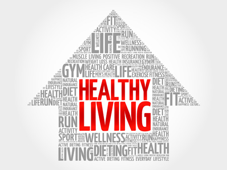healthy living: Healthy Living arrow word cloud, health concept Illustration