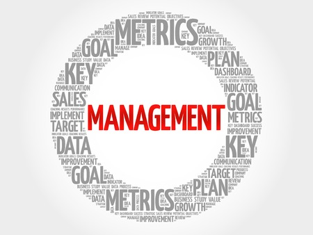 findings: Management circle word cloud, business concept background