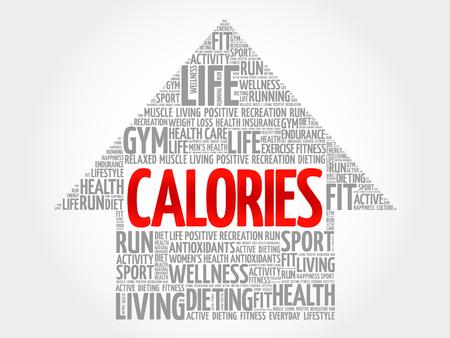 calories: CALORIES arrow word cloud, health concept
