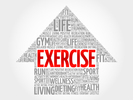 feel good: EXERCISE arrow word cloud, health concept Illustration