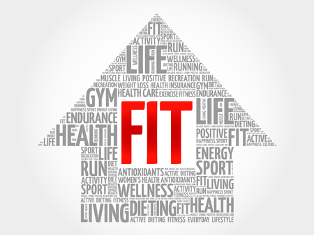 word clouds: FIT arrrow word cloud, health concept