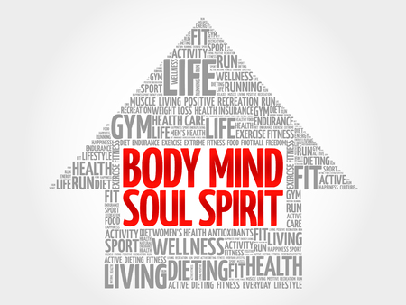 mind body soul: Body Mind Soul Spirit arrow word cloud, health concept Illustration