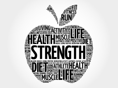 bicycle pump: Strength apple word cloud, health concept