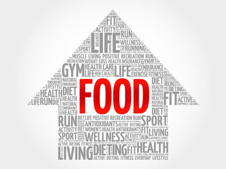 increase fruit: FOOD arrow word cloud, health concept