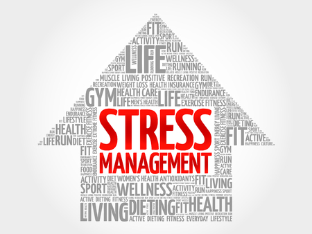 involves: Stress Management arrow word cloud, health concept