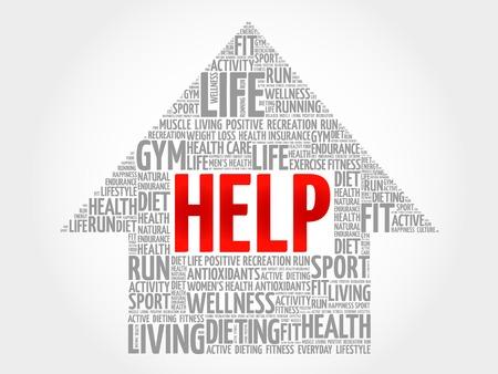 needy: HELP arrow word cloud, health concept