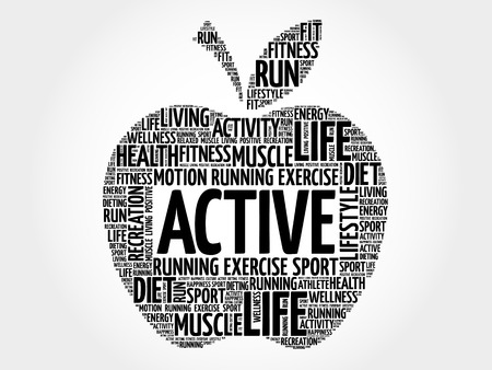 feel good: ACTIVE apple word cloud, health concept Illustration
