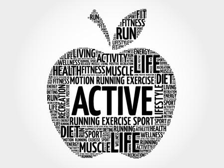 physique: ACTIVE apple word cloud, health concept Illustration
