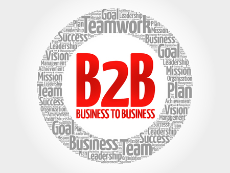 b2b: B2B (Business to Business) circle word cloud, business concept