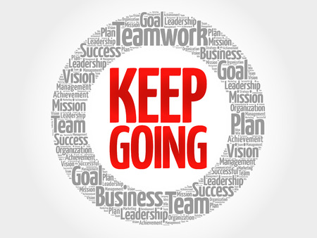 smart goals: Keep Going circle word cloud, business concept