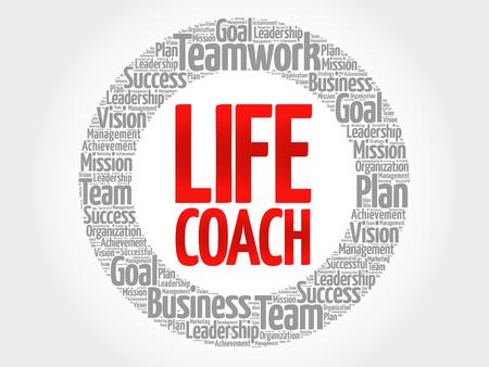 Life Coach círculo nube de la palabra, concepto de negocio Ilustración de vector