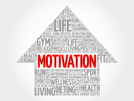 MOTIVATION arrow word cloud, health concept
