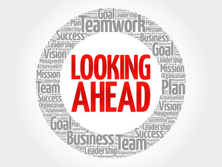 estimating: Looking Ahead circle word cloud, business concept
