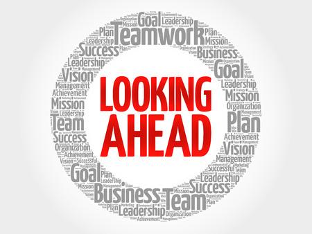 Vooruitkijkend cirkel woord wolk, business concept