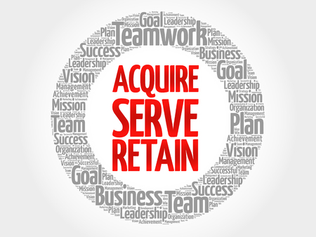 retained: Acquire, Serve and Retain circle word cloud, business concept Vectores