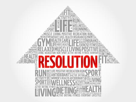 physique: RESOLUTION arrow word cloud, health concept Illustration