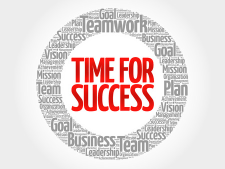 complete solution: Time for Success circle word cloud, business concept