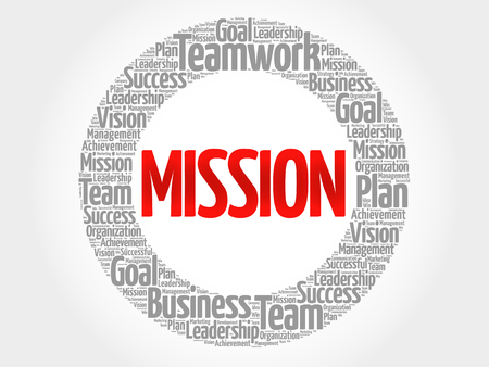 Misión círculo nube de la palabra, concepto de negocio