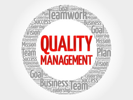 higher quality: Quality Management circle word cloud, business concept