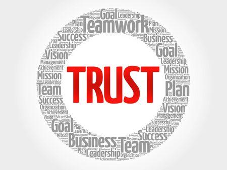Confiance mot cercle nuage, concept d'entreprise