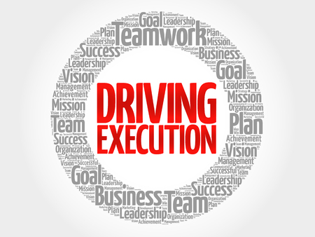 execution: Driving Execution circle stamp word cloud, business concept
