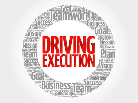 Fahren Execution Kreis Stempel Wortwolke, Business-Konzept