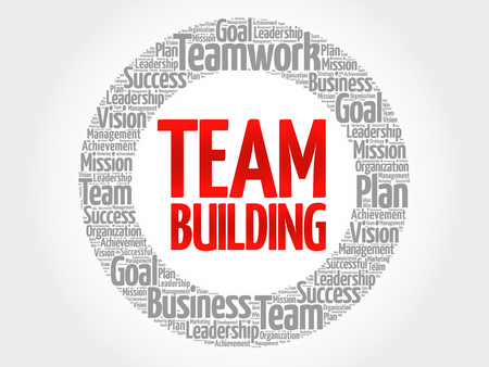 Team-Building-Kreis Wortwolke, Business-Konzept