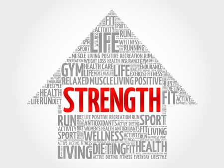 strength: Strength arrow word cloud, health concept Illustration