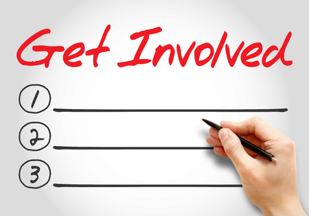 common goal: Get Involved blank list, business concept background Stock Photo