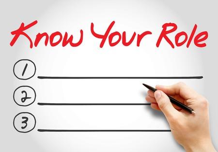 Kennen Sie Ihre Rolle leere Liste, Business-Konzept Hintergrund