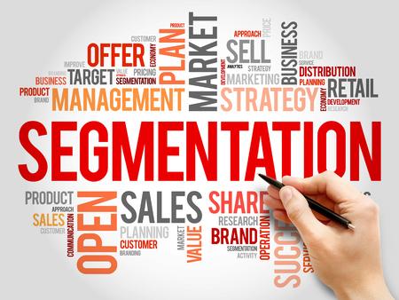 relationsip: Segmentation word cloud, business concept Stock Photo