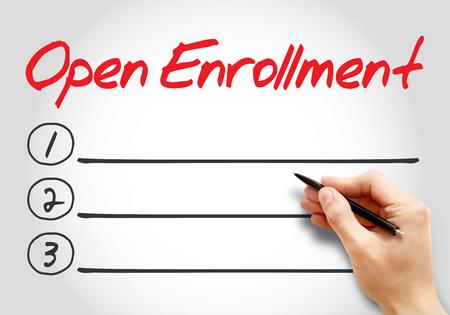 Open Enrollment blank list, health concept background