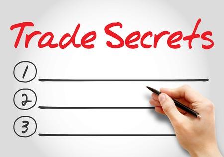 secret code: TRADE SECRETS blank list, business concept background Stock Photo