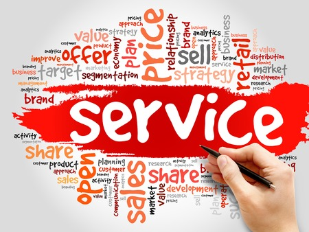 product reviews: SERVICE word cloud, business concept