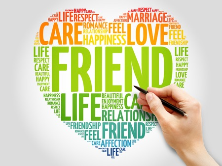 family and friends: Friend concept heart word cloud