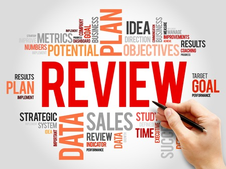 review: Review word cloud, business concept Stock Photo