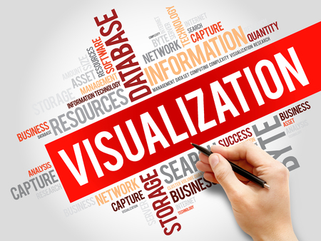 visualization: Visualization word cloud, business concept Stock Photo
