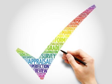 appraisal: Colorful Appraisal check mark, business concept words cloud