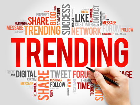 business trending: Trending word cloud, business concept Stock Photo